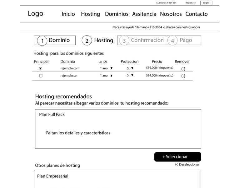 Purchase flow wireframe